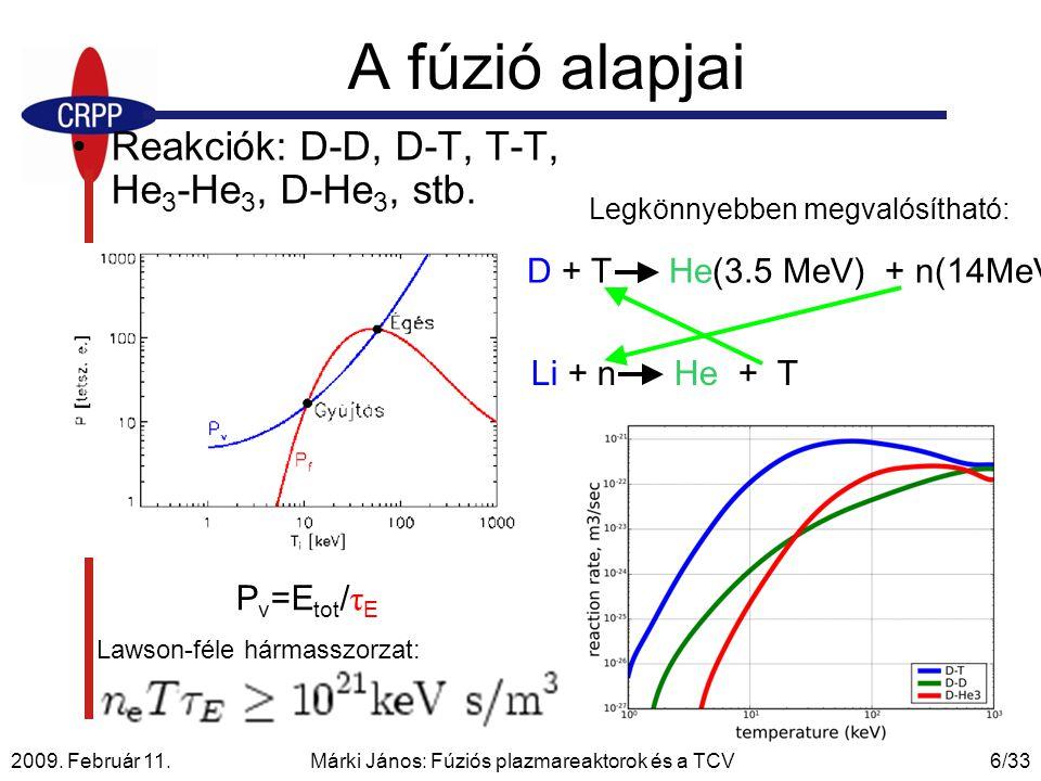 2009. Február 11. Márki János: Fúziós plazmareaktorok és a TCV6/33 A fúzió alapjai Reakciók: D-D, D-T, T-T, He 3 -He 3, D-He 3, stb. D + T He(3.5 MeV)