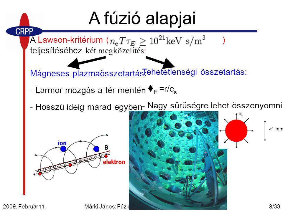 2009. Február 11. Márki János: Fúziós plazmareaktorok és a TCV8/33 Mágneses plazmaösszetartás: - Larmor mozgás a tér mentén - Hosszú ideig marad egybe