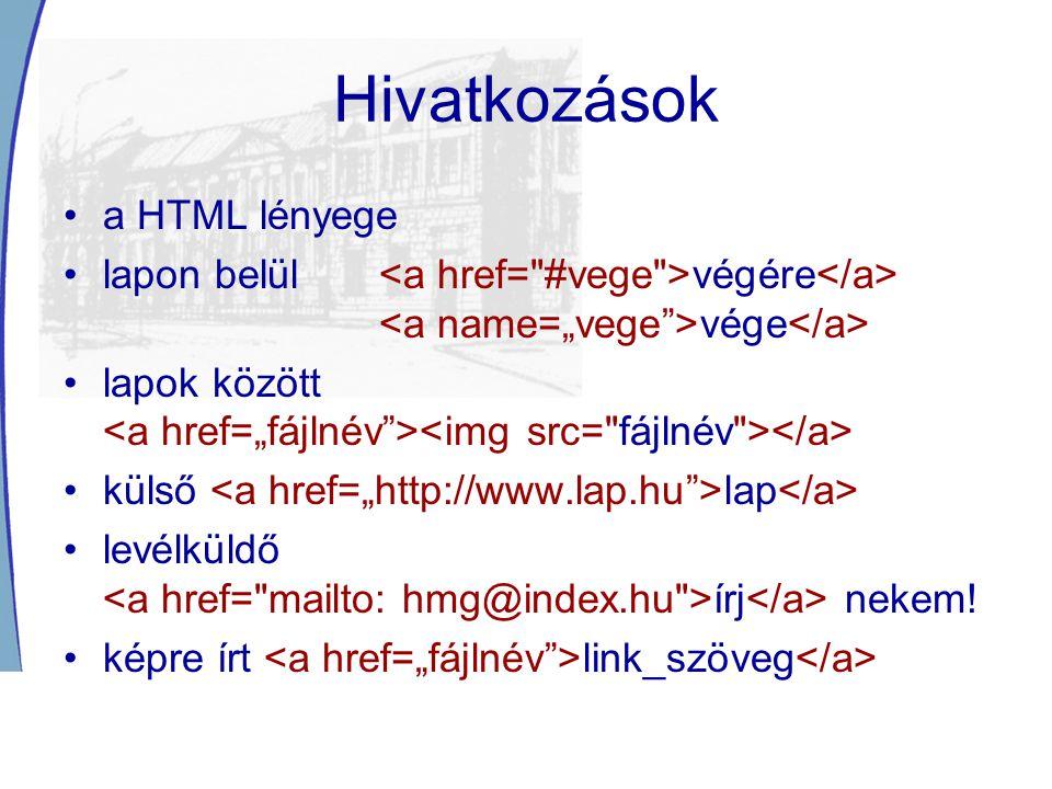 Hivatkozások a HTML lényege lapon belül végére vége lapok között külső lap levélküldő írj nekem.