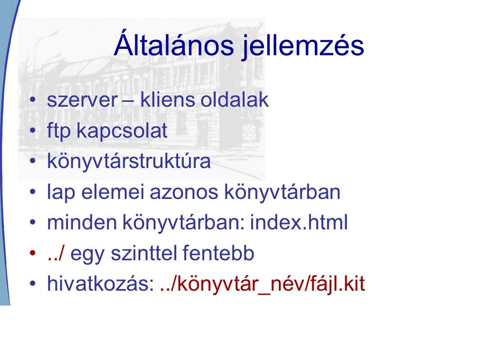 Általános jellemzés szerver – kliens oldalak ftp kapcsolat könyvtárstruktúra lap elemei azonos könyvtárban minden könyvtárban: index.html../ egy szinttel fentebb hivatkozás:../könyvtár_név/fájl.kit