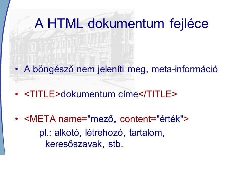 A HTML dokumentum fejléce A böngésző nem jeleníti meg, meta-információ dokumentum címe pl.: alkotó, létrehozó, tartalom, keresőszavak, stb.