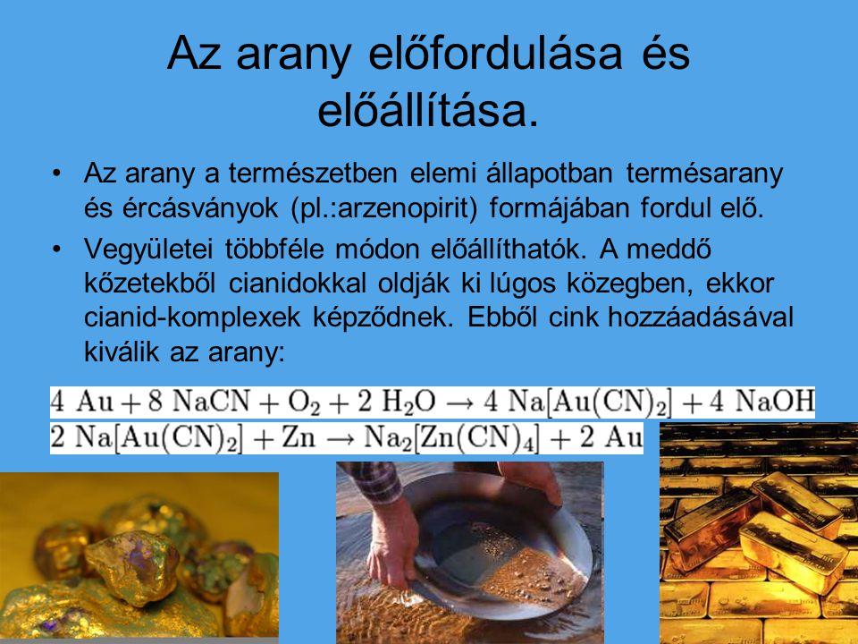 Az arany előfordulása és előállítása. Az arany a természetben elemi állapotban termésarany és ércásványok (pl.:arzenopirit) formájában fordul elő. Veg