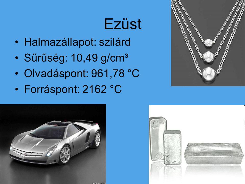 Ezüst Halmazállapot: szilárd Sűrűség: 10,49 g/cm³ Olvadáspont: 961,78 °C Forráspont: 2162 °C
