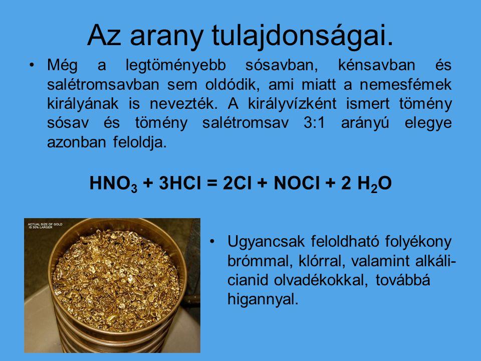Az arany tulajdonságai. Még a legtöményebb sósavban, kénsavban és salétromsavban sem oldódik, ami miatt a nemesfémek királyának is nevezték. A királyv