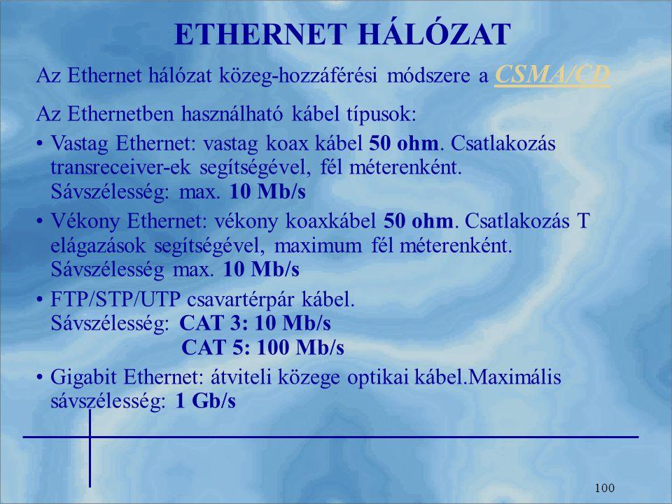 100 ETHERNET HÁLÓZAT Az Ethernet hálózat közeg-hozzáférési módszere a CSMA/CD CSMA/CD Az Ethernetben használható kábel típusok: Vastag Ethernet: vasta