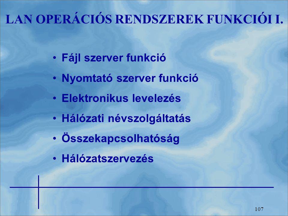 107 LAN OPERÁCIÓS RENDSZEREK FUNKCIÓI I. Fájl szerver funkció Nyomtató szerver funkció Elektronikus levelezés Hálózati névszolgáltatás Összekapcsolhat