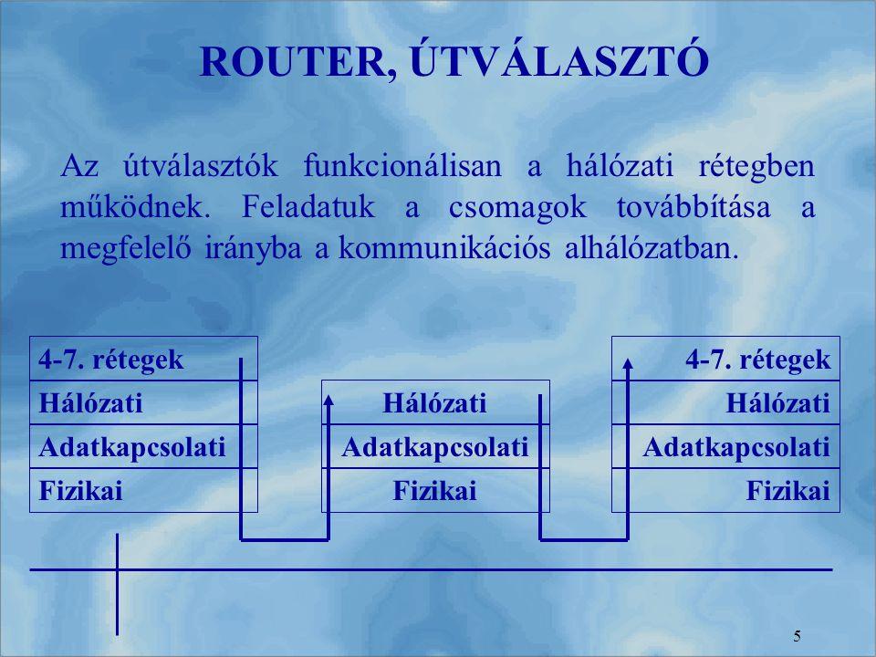 5 Az útválasztók funkcionálisan a hálózati rétegben működnek. Feladatuk a csomagok továbbítása a megfelelő irányba a kommunikációs alhálózatban. ROUTE