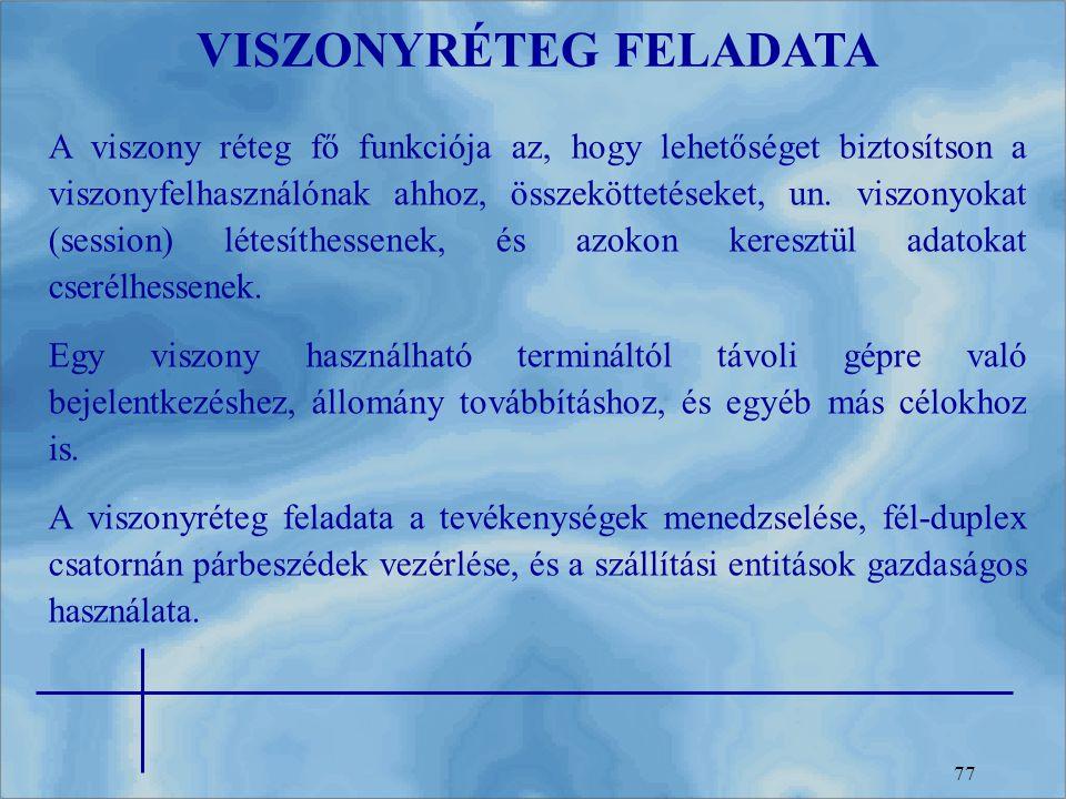 77 VISZONYRÉTEG FELADATA A viszony réteg fő funkciója az, hogy lehetőséget biztosítson a viszonyfelhasználónak ahhoz, összeköttetéseket, un. viszonyok