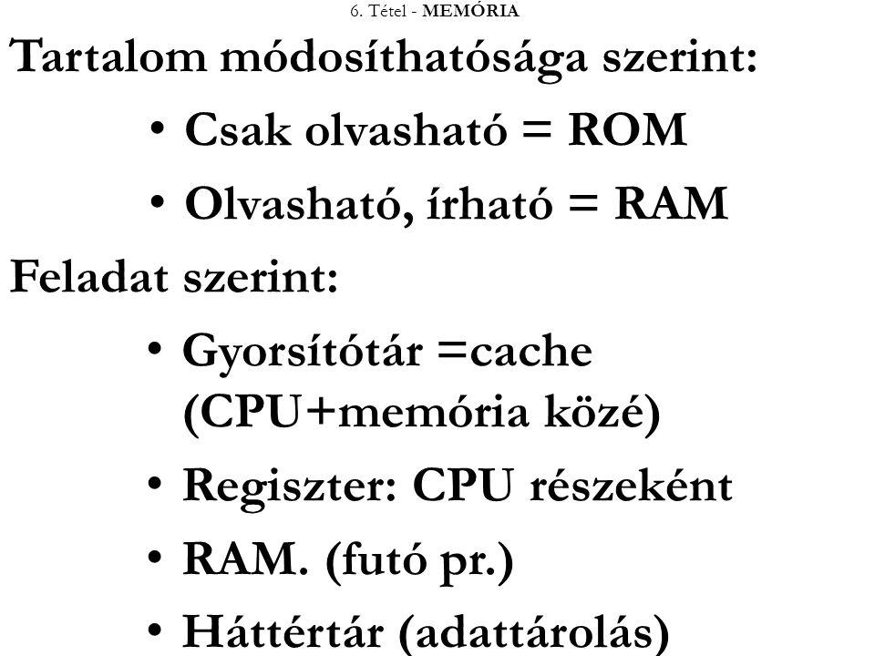 6. Tétel - MEMÓRIA Tartalom módosíthatósága szerint: Csak olvasható = ROM Olvasható, írható = RAM Feladat szerint: Gyorsítótár =cache (CPU+memória köz