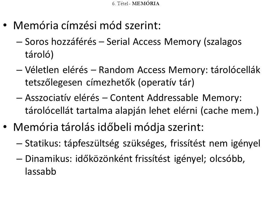 Memória címzési mód szerint: – Soros hozzáférés – Serial Access Memory (szalagos tároló) – Véletlen elérés – Random Access Memory: tárolócellák tetsző