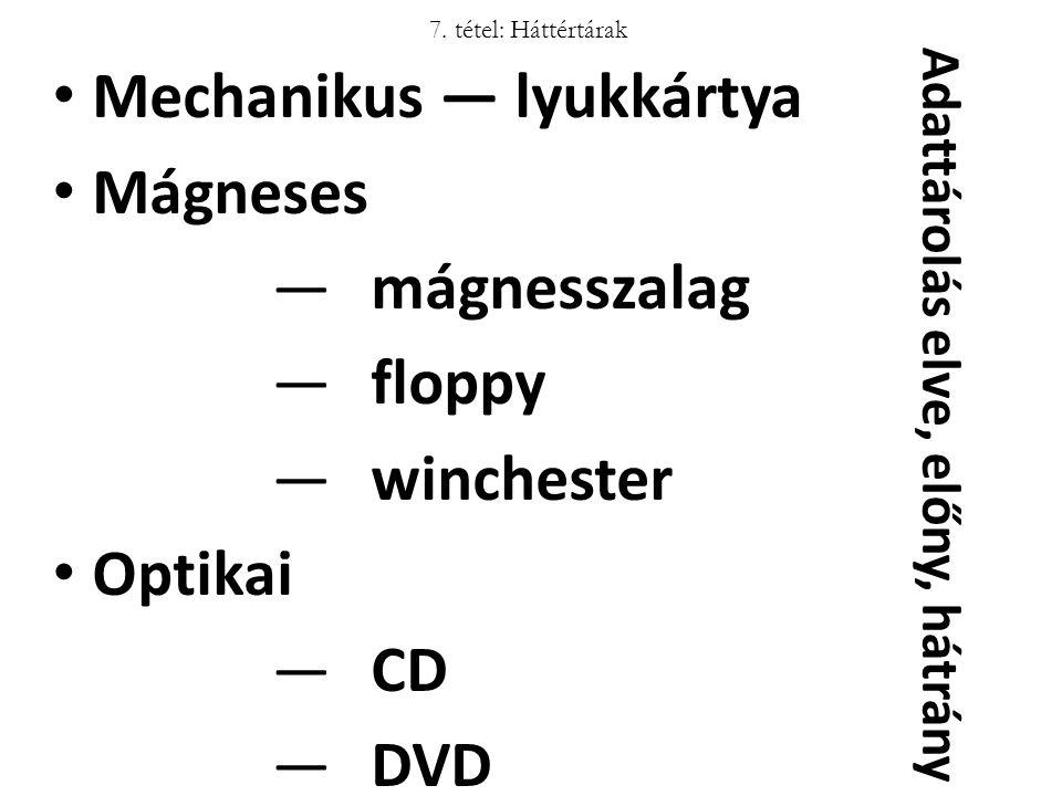 7. tétel: Háttértárak Mechanikus ― lyukkártya Mágneses ―mágnesszalag ―floppy ―winchester Optikai ―CD ―DVD Adattárolás elve, előny, hátrány
