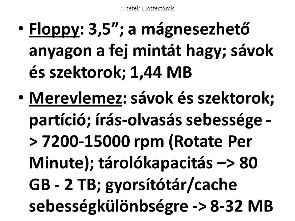 """Floppy: 3,5""""; a mágnesezhető anyagon a fej mintát hagy; sávok és szektorok; 1,44 MB Merevlemez: sávok és szektorok; partíció; írás-olvasás sebessége -"""