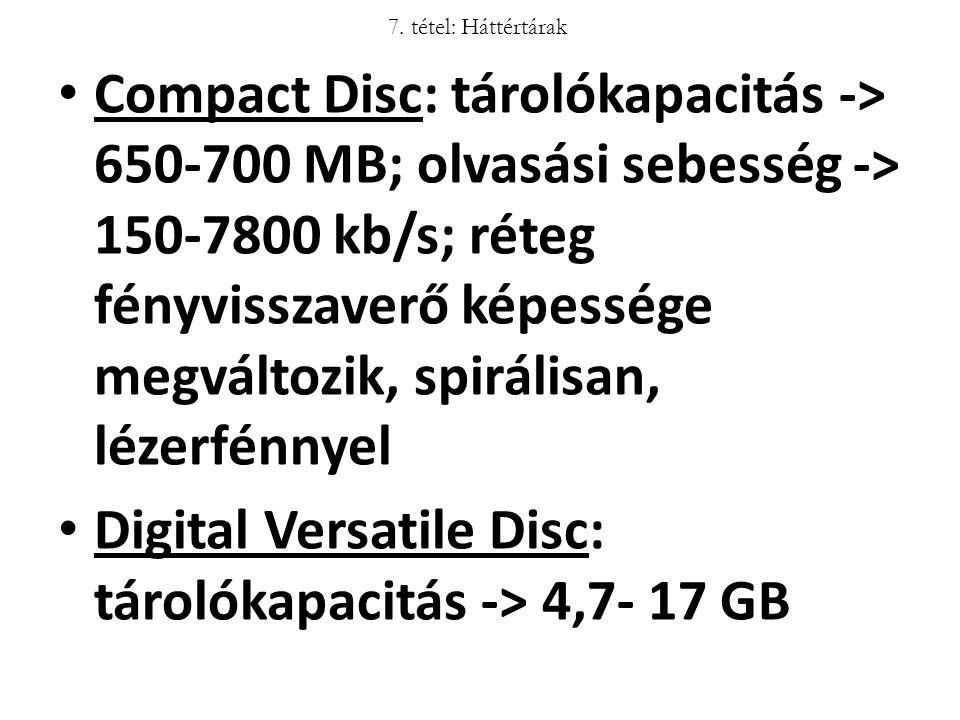 Compact Disc: tárolókapacitás -> 650-700 MB; olvasási sebesség -> 150-7800 kb/s; réteg fényvisszaverő képessége megváltozik, spirálisan, lézerfénnyel