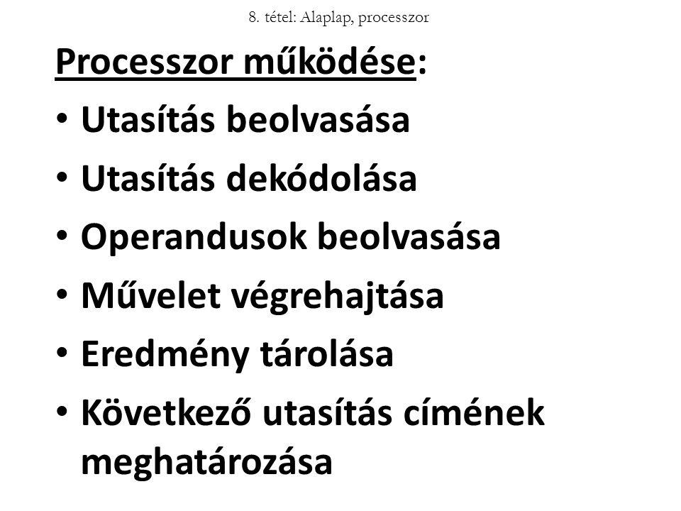 Processzor működése: Utasítás beolvasása Utasítás dekódolása Operandusok beolvasása Művelet végrehajtása Eredmény tárolása Következő utasítás címének