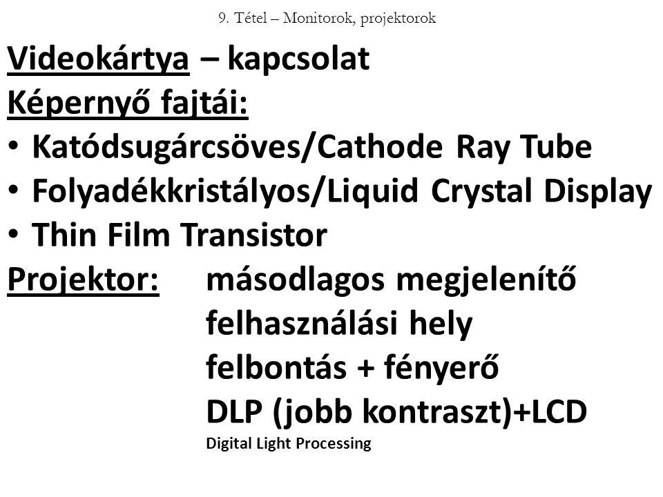 9. Tétel – Monitorok, projektorok Videokártya – kapcsolat Képernyő fajtái: Katódsugárcsöves/Cathode Ray Tube Folyadékkristályos/Liquid Crystal Display