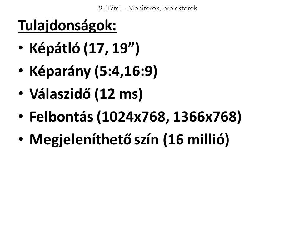 """Tulajdonságok: Képátló (17, 19"""") Képarány (5:4,16:9) Válaszidő (12 ms) Felbontás (1024x768, 1366x768) Megjeleníthető szín (16 millió) 9. Tétel – Monit"""