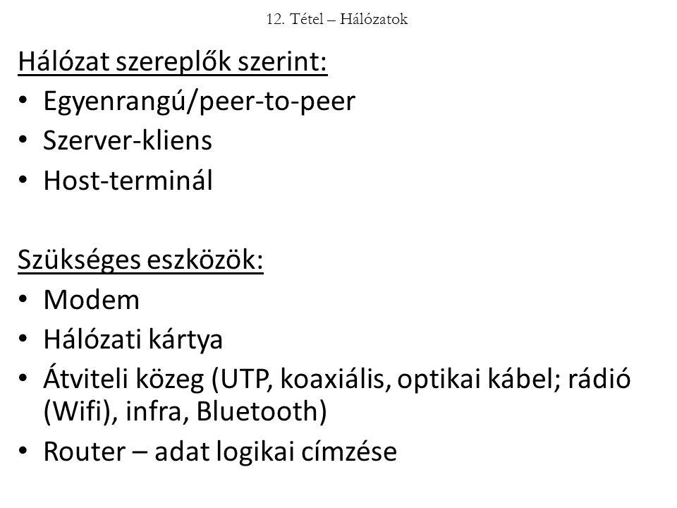 Hálózat szereplők szerint: Egyenrangú/peer-to-peer Szerver-kliens Host-terminál Szükséges eszközök: Modem Hálózati kártya Átviteli közeg (UTP, koaxiál