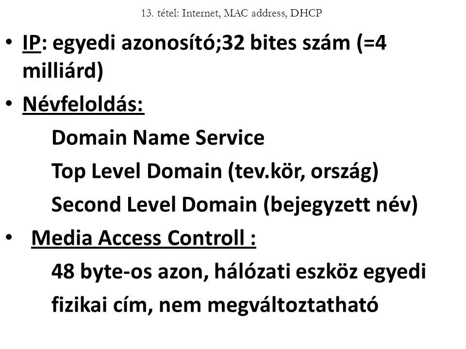 13. tétel: Internet, MAC address, DHCP IP: egyedi azonosító;32 bites szám (=4 milliárd) Névfeloldás: Domain Name Service Top Level Domain (tev.kör, or