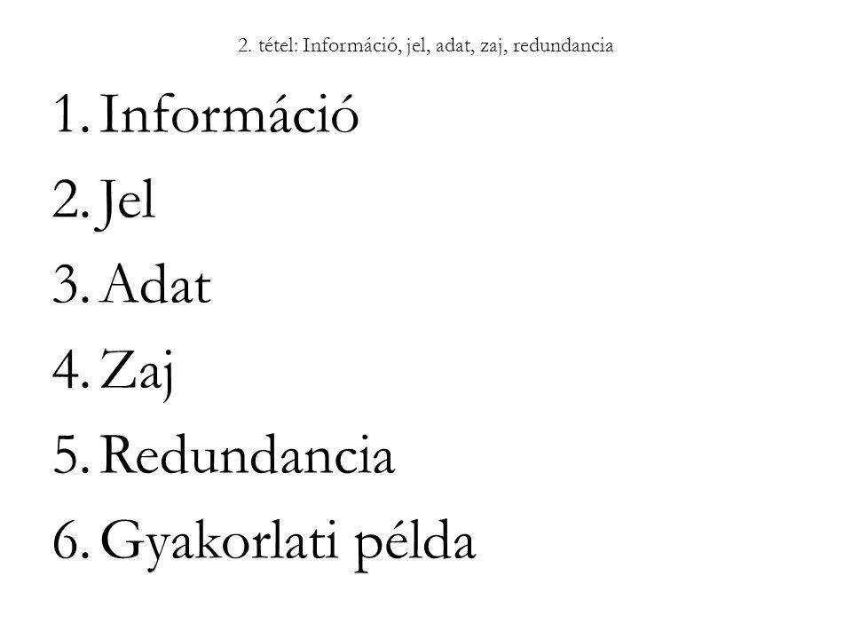 2. tétel: Információ, jel, adat, zaj, redundancia 1.Információ 2.Jel 3.Adat 4.Zaj 5.Redundancia 6.Gyakorlati példa