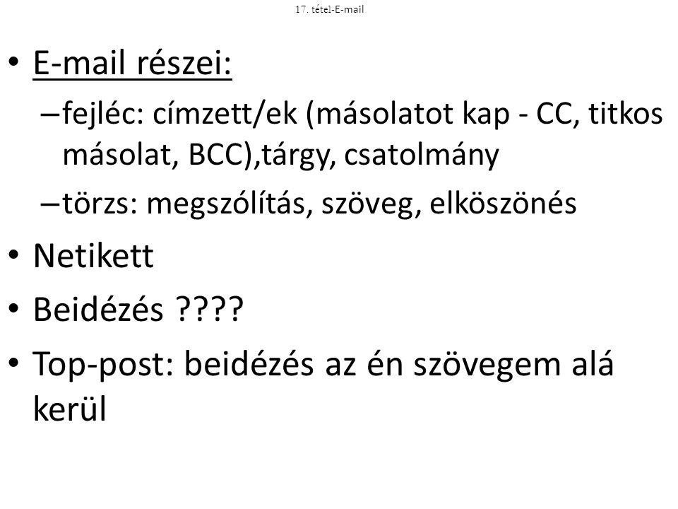 E-mail részei: – fejléc: címzett/ek (másolatot kap - CC, titkos másolat, BCC),tárgy, csatolmány – törzs: megszólítás, szöveg, elköszönés Netikett Beid