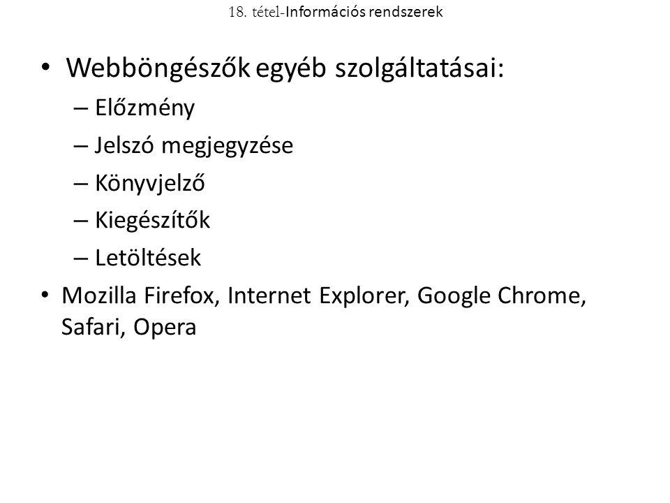 Webböngészők egyéb szolgáltatásai: – Előzmény – Jelszó megjegyzése – Könyvjelző – Kiegészítők – Letöltések Mozilla Firefox, Internet Explorer, Google