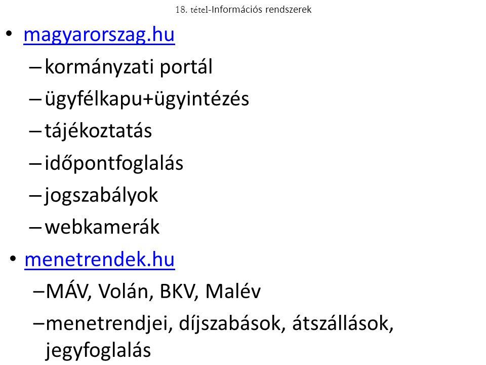 magyarorszag.hu – kormányzati portál – ügyfélkapu+ügyintézés – tájékoztatás – időpontfoglalás – jogszabályok – webkamerák menetrendek.hu –MÁV, Volán,