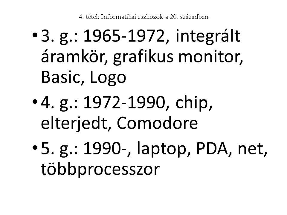 3. g.: 1965-1972, integrált áramkör, grafikus monitor, Basic, Logo 4. g.: 1972-1990, chip, elterjedt, Comodore 5. g.: 1990-, laptop, PDA, net, többpro