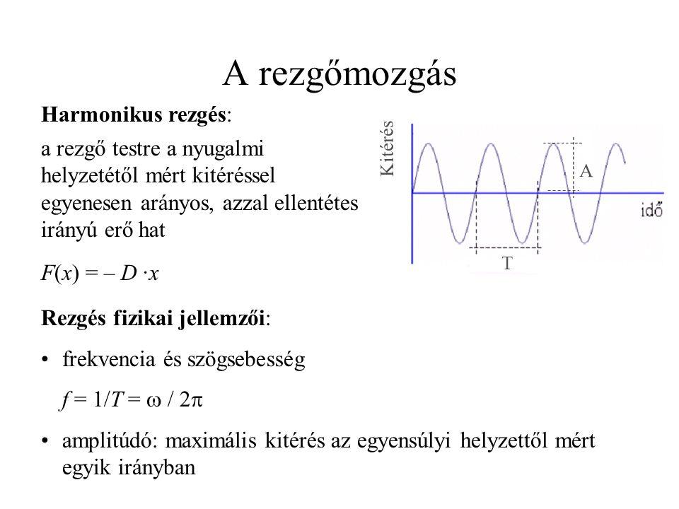 kitérés: x(t) = A · sin (  t +  0 ) sebesség: v(t) = A ·  · cos (  t +  0 ) = v 0 · cos (  t +  0 ) gyorsulás: a(t) = – A ·  2 · sin (  t +  0 ) = – a 0 · sin (  t +  0 ) Rezgésállapotok: szabad rezgés: pillanatnyi erőhatás után a rendszert magára hagyjuk  súrlódás és külső csillapító erő hiányában állandó amplitúdójú és frekvenciájú (sajátfrekvencia) rezgés jön létre csillapított szabad rezgés: x = x 0 · e –  t sin  t, ahol  a csillapítási állandó