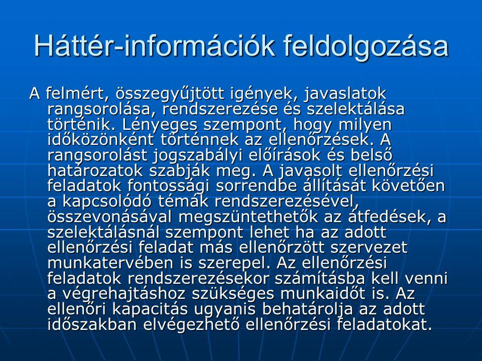 Háttér-információk feldolgozása A felmért, összegyűjtött igények, javaslatok rangsorolása, rendszerezése és szelektálása történik.