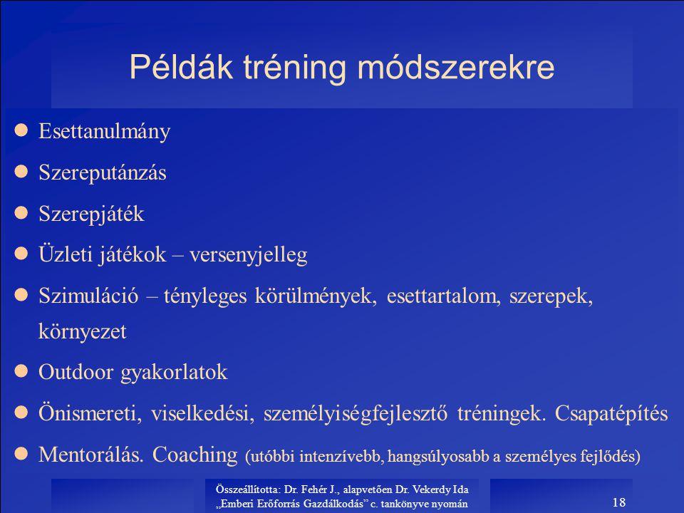 """Összeállította: Dr. Fehér J., alapvetően Dr. Vekerdy Ida """"Emberi Erőforrás Gazdálkodás"""" c. tankönyve nyomán 18 Példák tréning módszerekre lEsettanulmá"""
