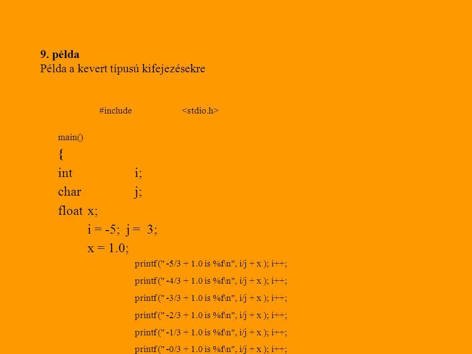 9. példa Példa a kevert típusú kifejezésekre #include main() { inti; charj; floatx; i = -5; j = 3; x = 1.0; printf (