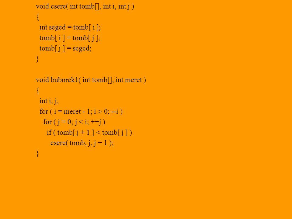 void csere( int tomb[], int i, int j ) { int seged = tomb[ i ]; tomb[ i ] = tomb[ j ]; tomb[ j ] = seged; } void buborek1( int tomb[], int meret ) { int i, j; for ( i = meret - 1; i > 0; --i ) for ( j = 0; j < i; ++j ) if ( tomb[ j + 1 ] < tomb[ j ] ) csere( tomb, j, j + 1 ); }