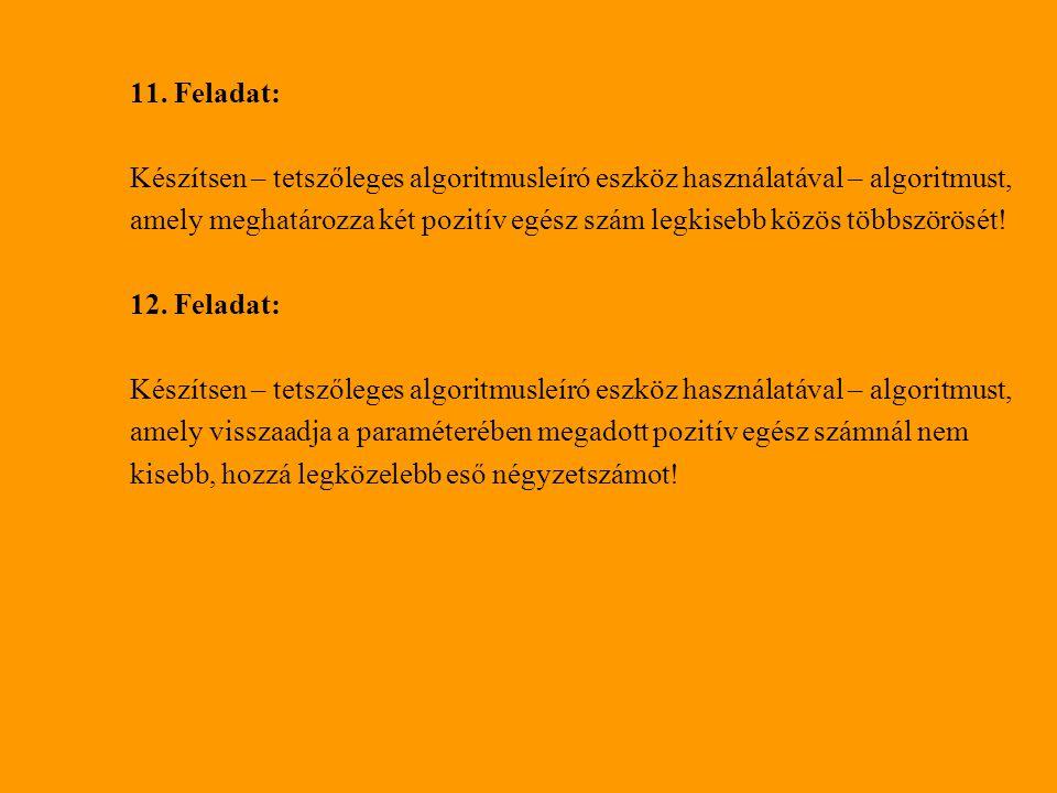 11. Feladat: Készítsen – tetszőleges algoritmusleíró eszköz használatával – algoritmust, amely meghatározza két pozitív egész szám legkisebb közös töb