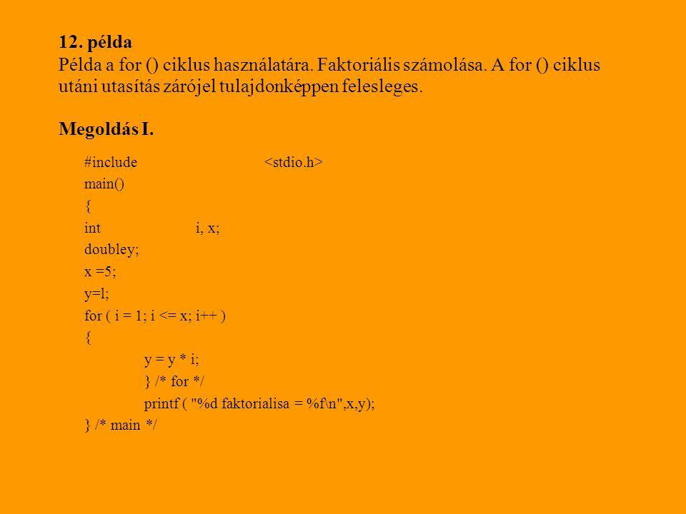 12.példa Példa a for () ciklus használatára. Faktoriális számolása.