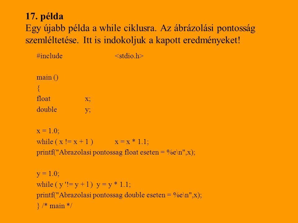 17.példa Egy újabb példa a while ciklusra. Az ábrázolási pontosság szemléltetése.