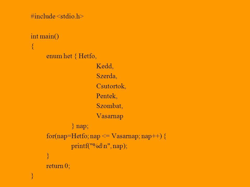 #include int main() { enum het { Hetfo, Kedd, Szerda, Csutortok, Pentek, Szombat, Vasarnap } nap; for(nap=Hetfo; nap <= Vasarnap; nap++) { printf( %d\n , nap); } return 0; }