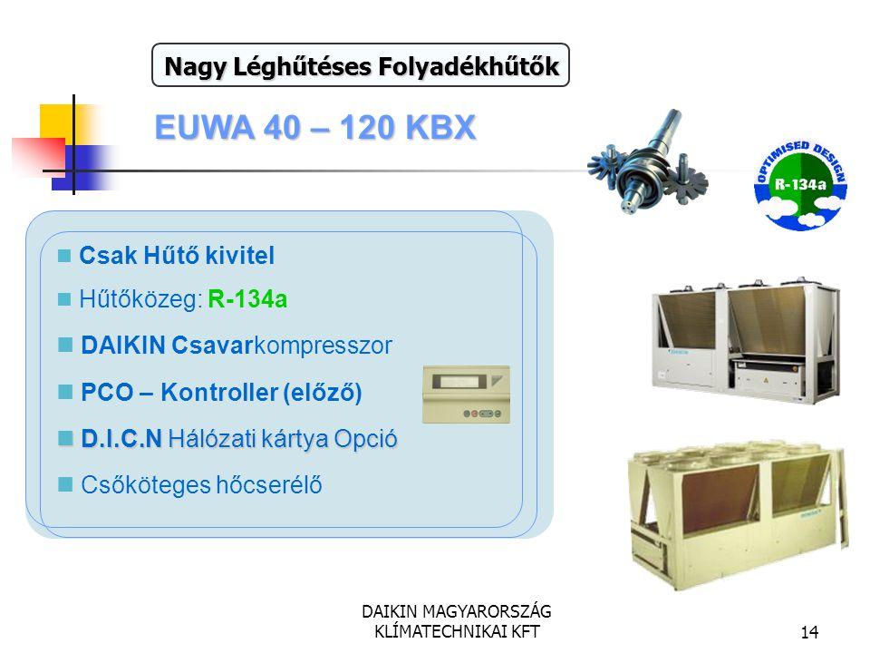 DAIKIN MAGYARORSZÁG KLÍMATECHNIKAI KFT14 EUWA 40 – 120 KBX Teljesítmény: 111 - 320 kW Csak Hűtő kivitel Hűtőközeg: R-134a DAIKIN Csavarkompresszor PCO