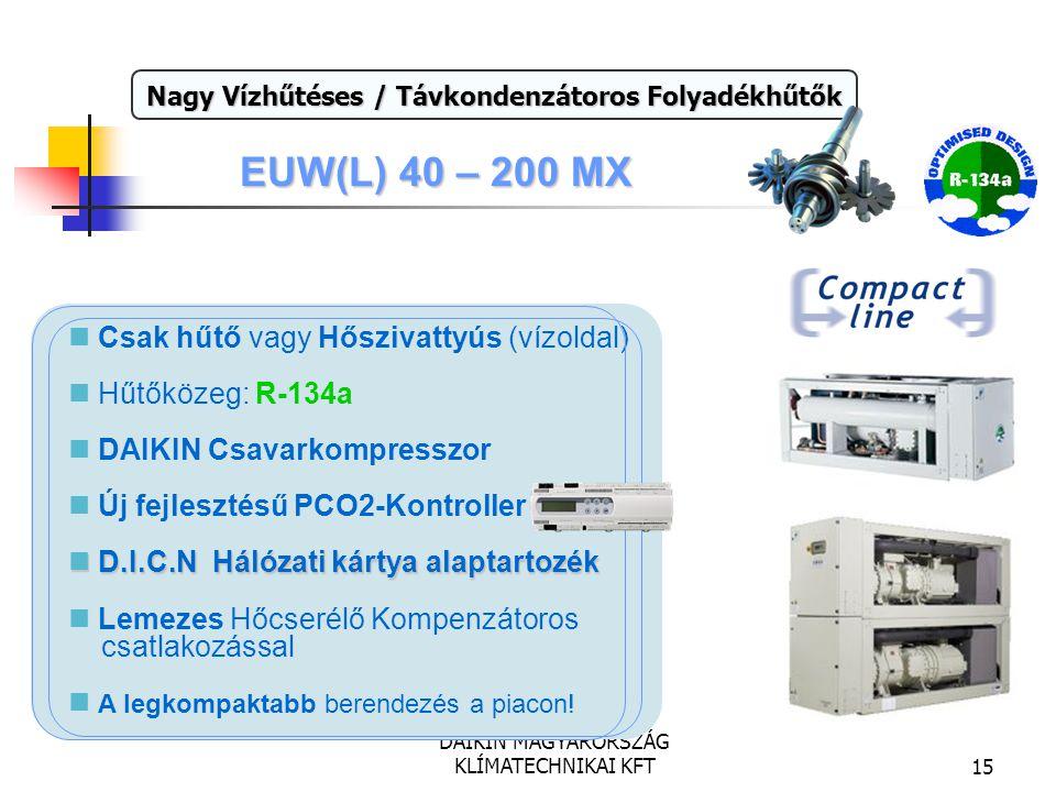 DAIKIN MAGYARORSZÁG KLÍMATECHNIKAI KFT15 EUW(L) 40 – 200 MX Teljesítmény: 111 - 575 kW Nagy Vízhűtéses / Távkondenzátoros Folyadékhűtők Csak hűtő vagy