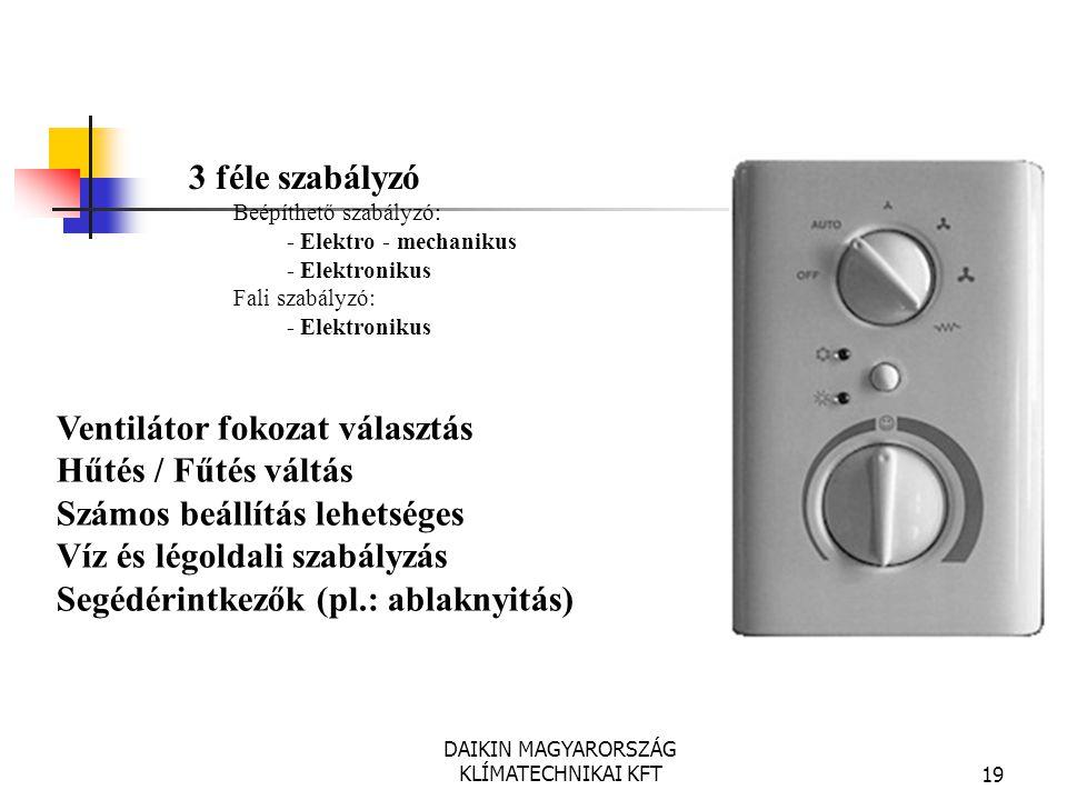 DAIKIN MAGYARORSZÁG KLÍMATECHNIKAI KFT19 Ventilátor fokozat választás Hűtés / Fűtés váltás Számos beállítás lehetséges Víz és légoldali szabályzás Seg