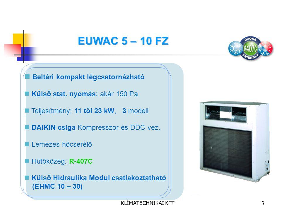 DAIKIN MAGYARORSZÁG KLÍMATECHNIKAI KFT8 Beltéri kompakt légcsatornázható Kűlső stat. nyomás: akár 150 Pa Teljesítmény: 11 től 23 kW, 3 modell DAIKIN c