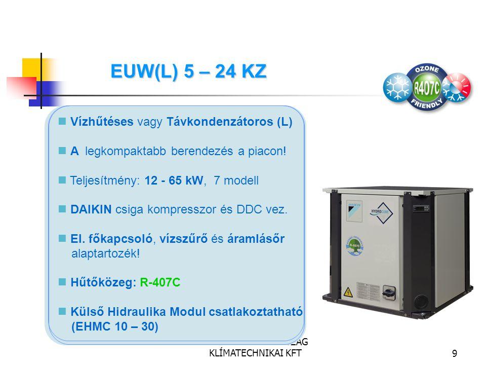 DAIKIN MAGYARORSZÁG KLÍMATECHNIKAI KFT9 Vízhűtéses vagy Távkondenzátoros (L) A legkompaktabb berendezés a piacon! Teljesítmény: 12 - 65 kW, 7 modell D