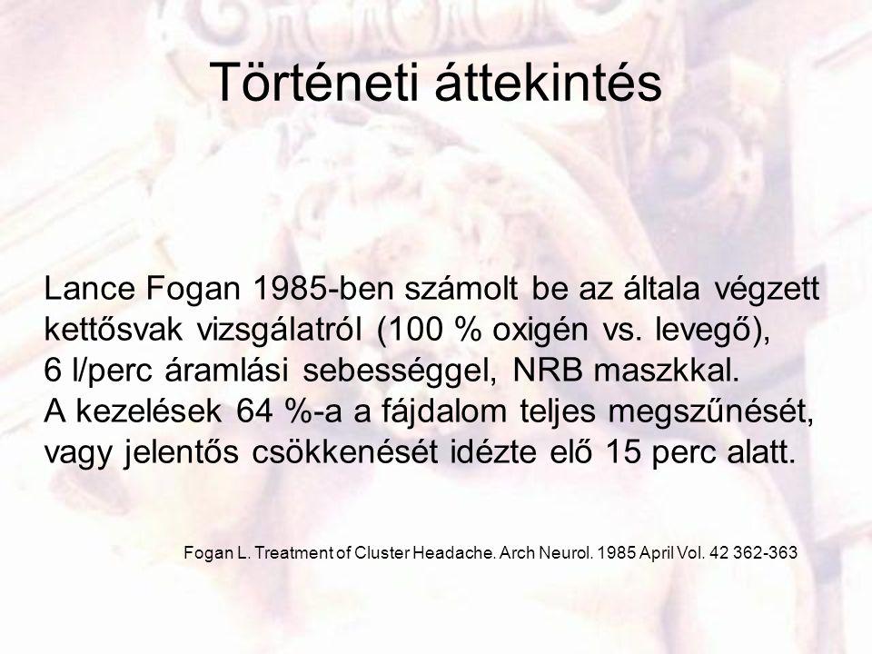 Történeti áttekintés Lance Fogan 1985-ben számolt be az általa végzett kettősvak vizsgálatról (100 % oxigén vs. levegő), 6 l/perc áramlási sebességgel