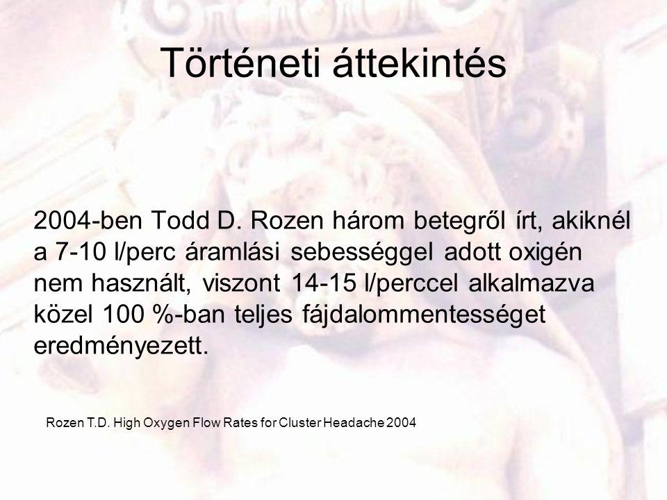 Történeti áttekintés 2004-ben Todd D. Rozen három betegről írt, akiknél a 7-10 l/perc áramlási sebességgel adott oxigén nem használt, viszont 14-15 l/