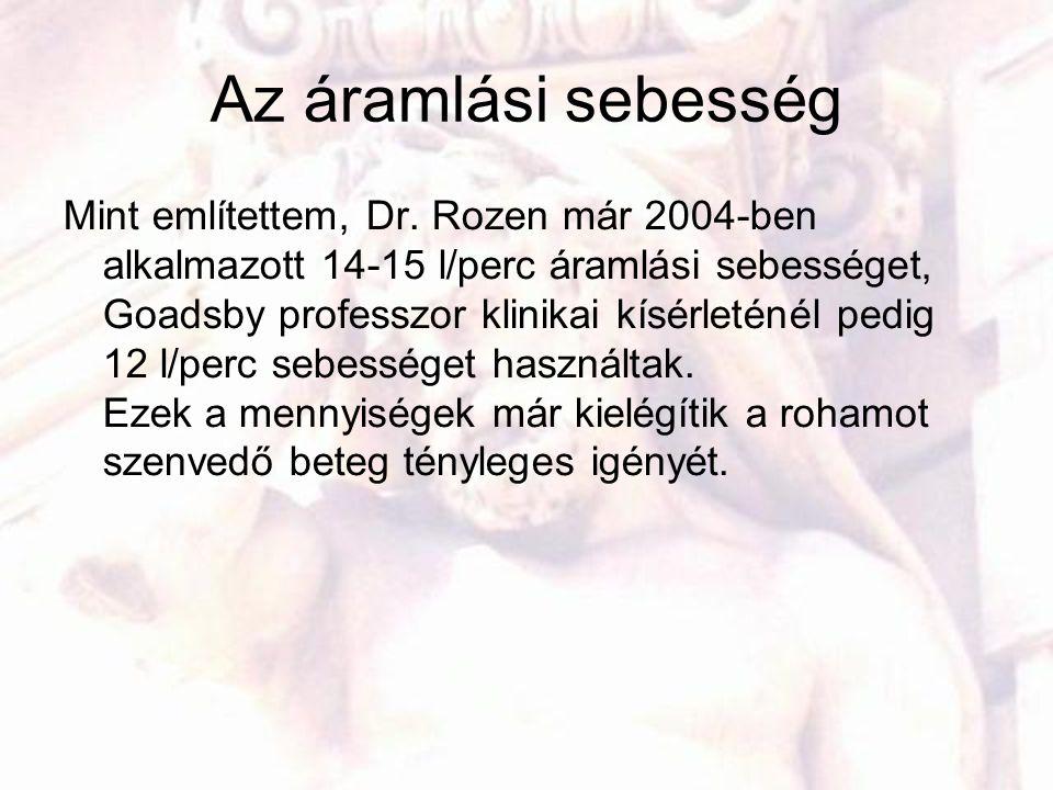 Az áramlási sebesség Mint említettem, Dr. Rozen már 2004-ben alkalmazott 14-15 l/perc áramlási sebességet, Goadsby professzor klinikai kísérleténél pe