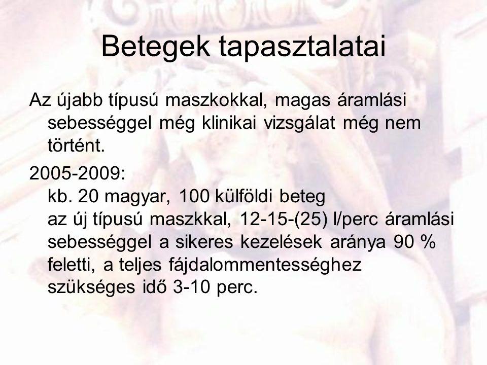Betegek tapasztalatai Az újabb típusú maszkokkal, magas áramlási sebességgel még klinikai vizsgálat még nem történt. 2005-2009: kb. 20 magyar, 100 kül