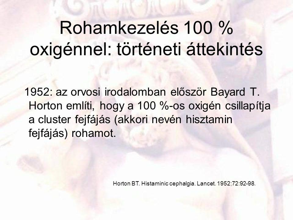 Rohamkezelés 100 % oxigénnel: történeti áttekintés 1952: az orvosi irodalomban először Bayard T. Horton említi, hogy a 100 %-os oxigén csillapítja a c
