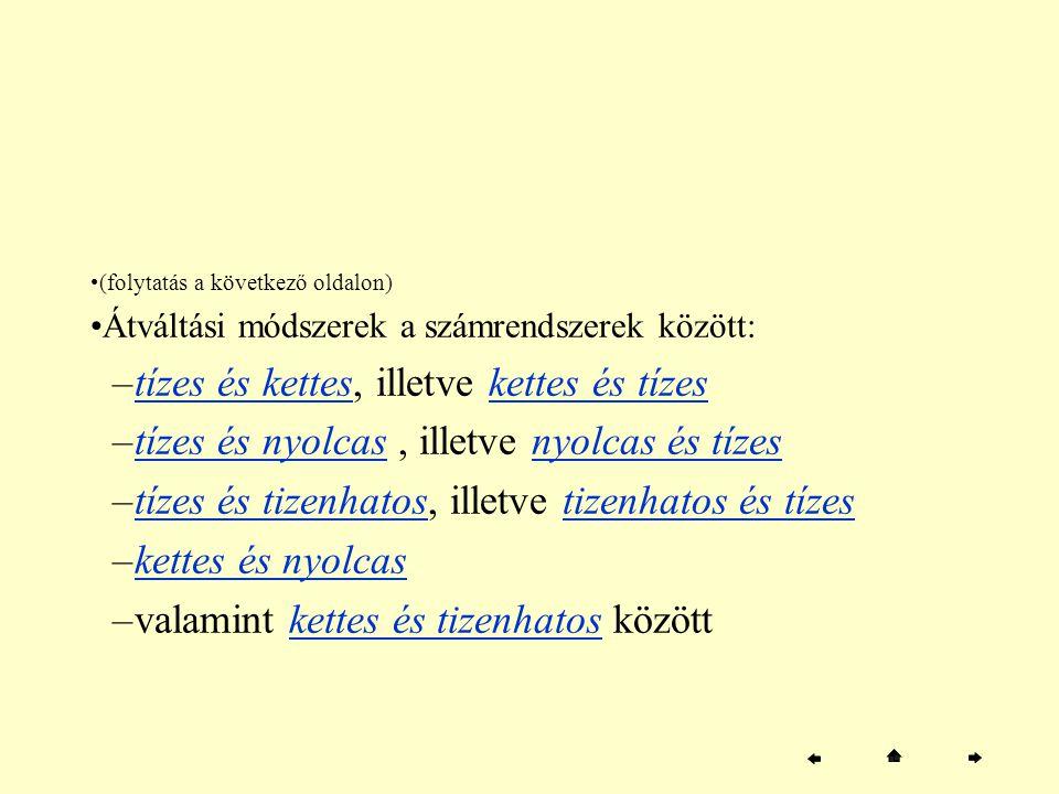 (folytatás a következő oldalon) Átváltási módszerek a számrendszerek között: –tízes és kettes, illetve kettes és tízestízes és ketteskettes és tízes –