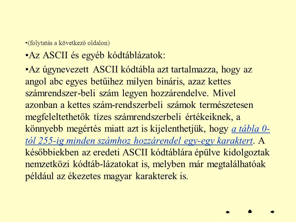 (folytatás a következő oldalon) Az ASCII és egyéb kódtáblázatok: Az úgynevezett ASCII kódtábla azt tartalmazza, hogy az angol abc egyes betűihez milye