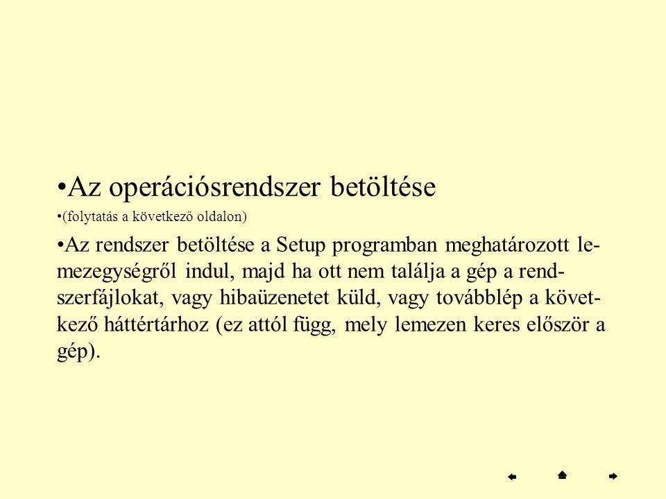 Az operációsrendszer betöltése (folytatás a következő oldalon) Az rendszer betöltése a Setup programban meghatározott le- mezegységről indul, majd ha