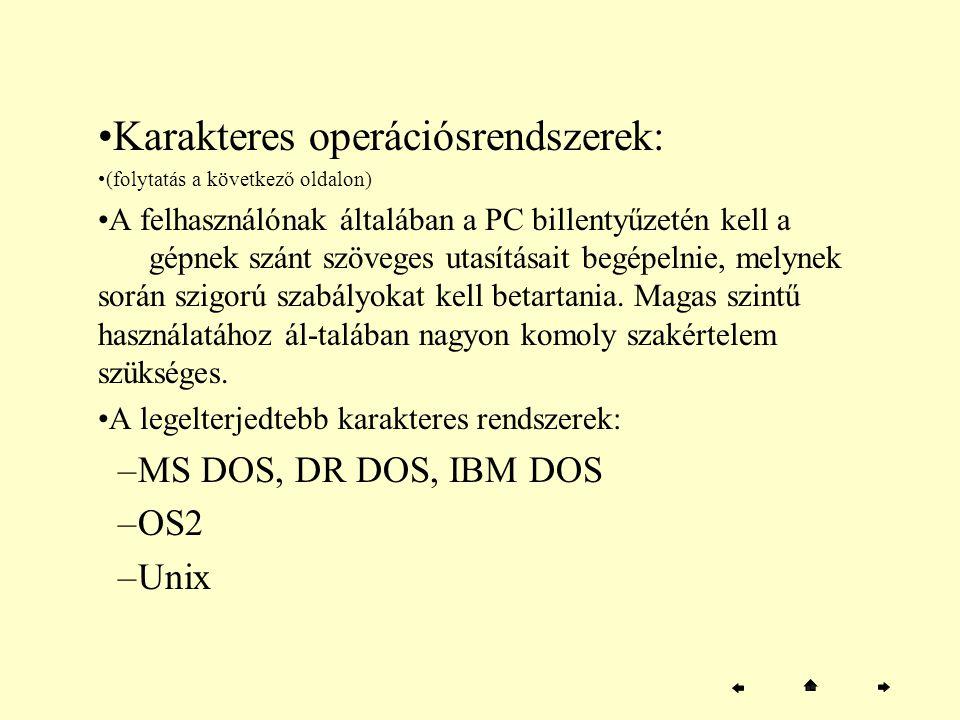 Karakteres operációsrendszerek: (folytatás a következő oldalon) A felhasználónak általában a PC billentyűzetén kell a gépnek szánt szöveges utasításai
